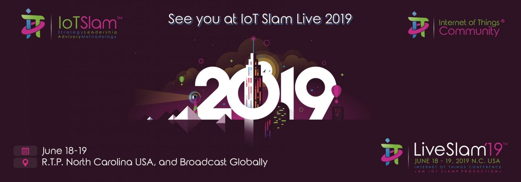 IoT Community IoT Slam Live 2019 IoT Conference Front Page Slider Full Logos